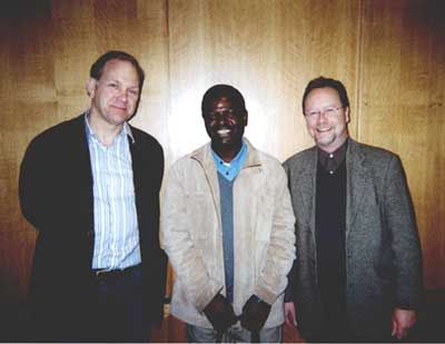 Afriscopes Series Editors (from left) Richard Fardon, Francis Nyamnjoh and Graham Furniss. The three gathered at the launch at SOAS, University of London, 13 March 2006, of Nyamnjoh's book, Insiders and Outsiders: Citizenship and Xenophobia in Contemporary Southern Africa (London: Zed Books). Photo: Sajid Rizvi
