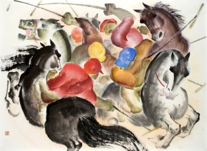 Zeng Shanqing 2008. Polo Play, 2008. Ink and colour on rice paper 37 3/4 x 50 1/2 in (95.9 x 128.3 cm)