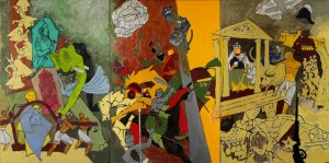 M F Husain 2008-2011: Three Dynasties. Photo: Courtesy of Mrs Usha Mittal © Victoria and Albert Museum, London