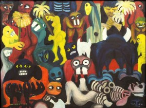 Malangatana 1961: Untitled. Oil on masonite. Photo: Gallery of African Art London