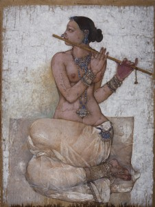 Najmi Sura, Lady Playing Flute oil on canvas 102 x 76 cm