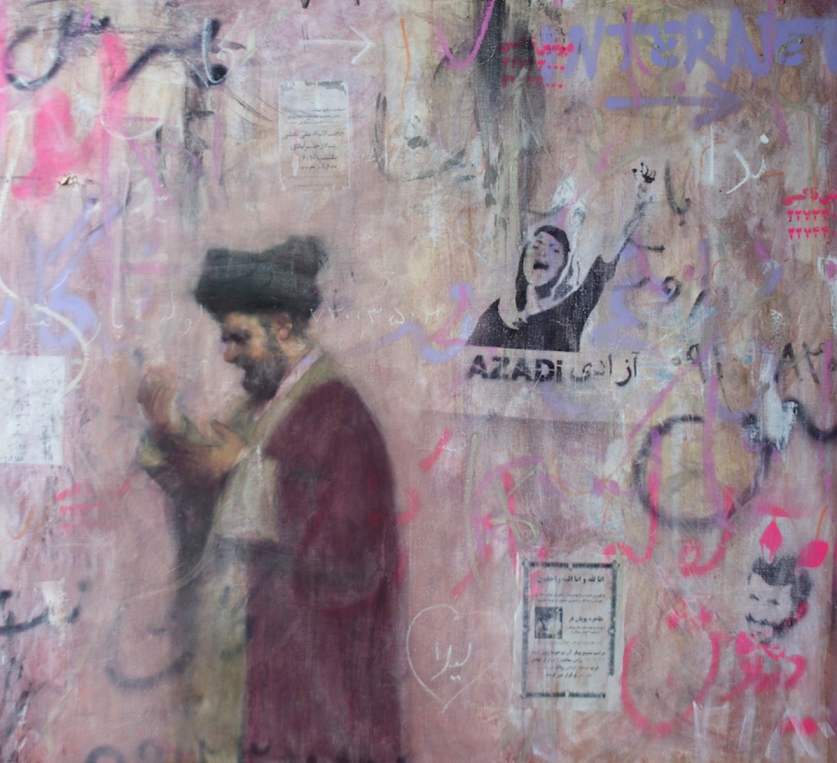 Darvish Fakhr 2014: Mullah against Pink Wall, aka Freedom, oil on linen, 151 x 173 cm